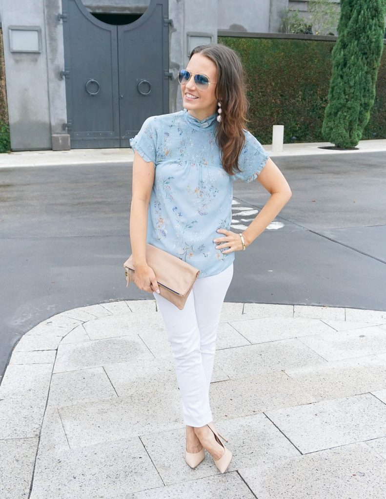 Summer Outfit | Blue Floral Blouse | White Jeans | Houston Fashion Blogger Lady in Violet