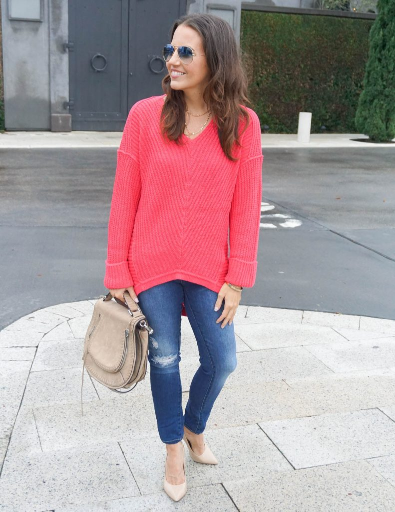 Winter Outfit | Pink Sweater | Saddle Crossbody Bag | Houston Fashion Blogger Lady in Violet