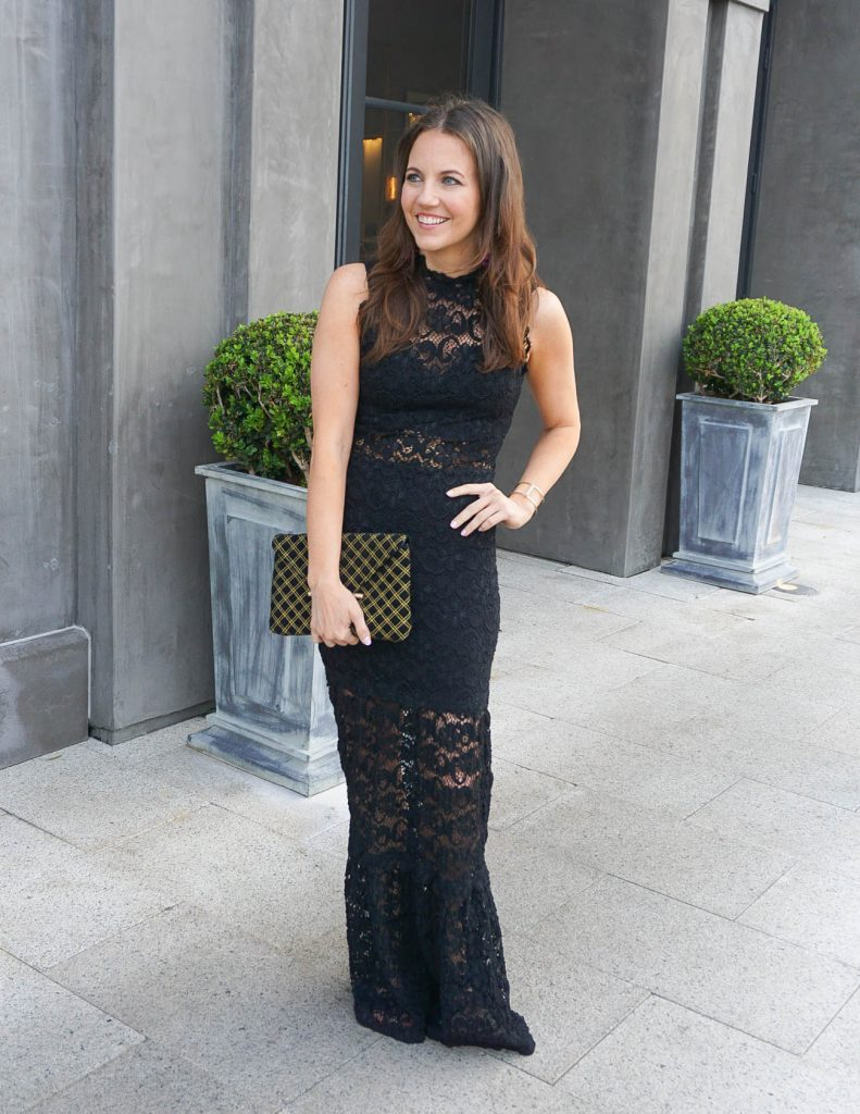 Formal Wedding Attire | Black Lace Dress | Velvet clutch | Houston Fashion Blogger Lady in Violet