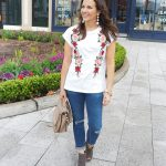 Casual Spring Style: Floral Embroidered Tee
