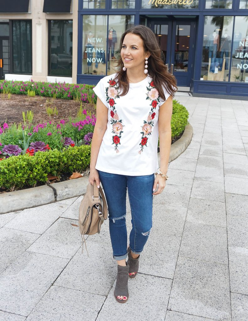 Spring Outfit | Floral Embroidered Tee | Distressed Jeans | Houston Fashion Blogger Lady in Violet