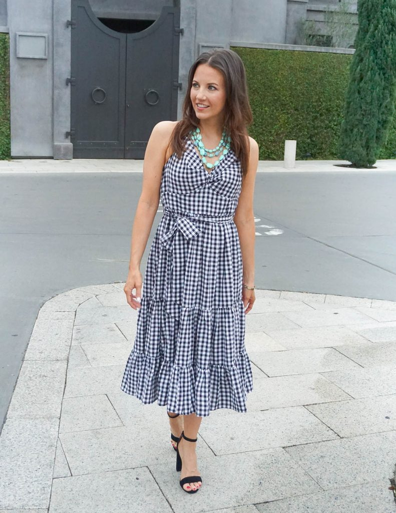 Spring Outfit | Gingham Dress | Turquoise Necklace | Houston Fashion Blogger Lady in Violet