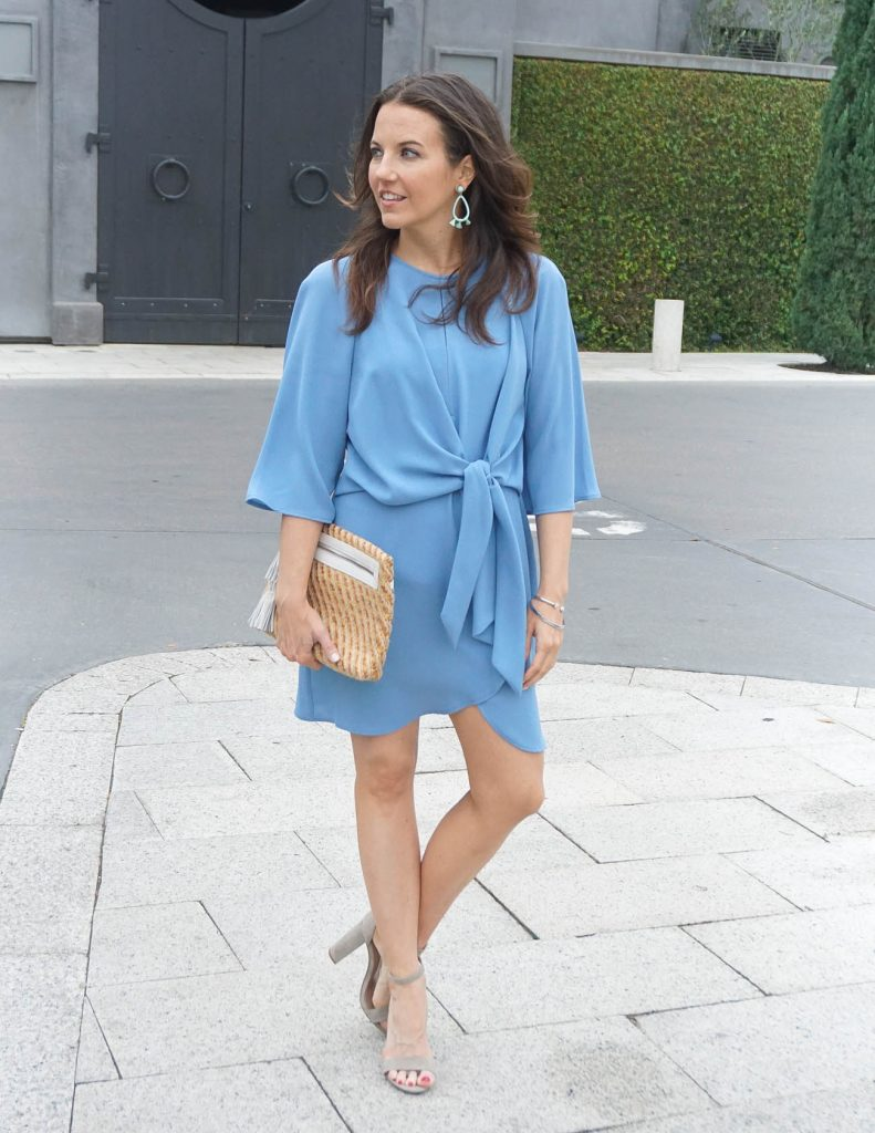 Spring Outfit | Light Blue Mini dress | Straw Clutch | Houston Fashion Blogger Lady in Violet