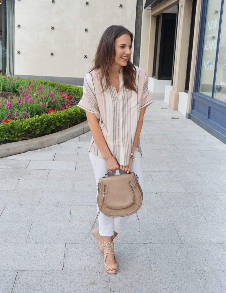 Spring Outfit | Pastel Striped Top | White Jeans | Houston Fashion Blogger Lady in Violet