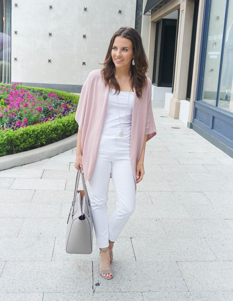 Spring Outfit | Pink Cardigan | White Skinny Jeans | Houston Fashion Blogger Lady in Violet