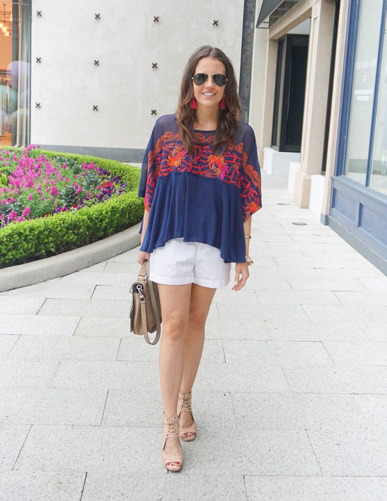 Summer Outfit | White Shorts | Navy Embroidered Tee | Houston Fashion Blogger Lady in Violet