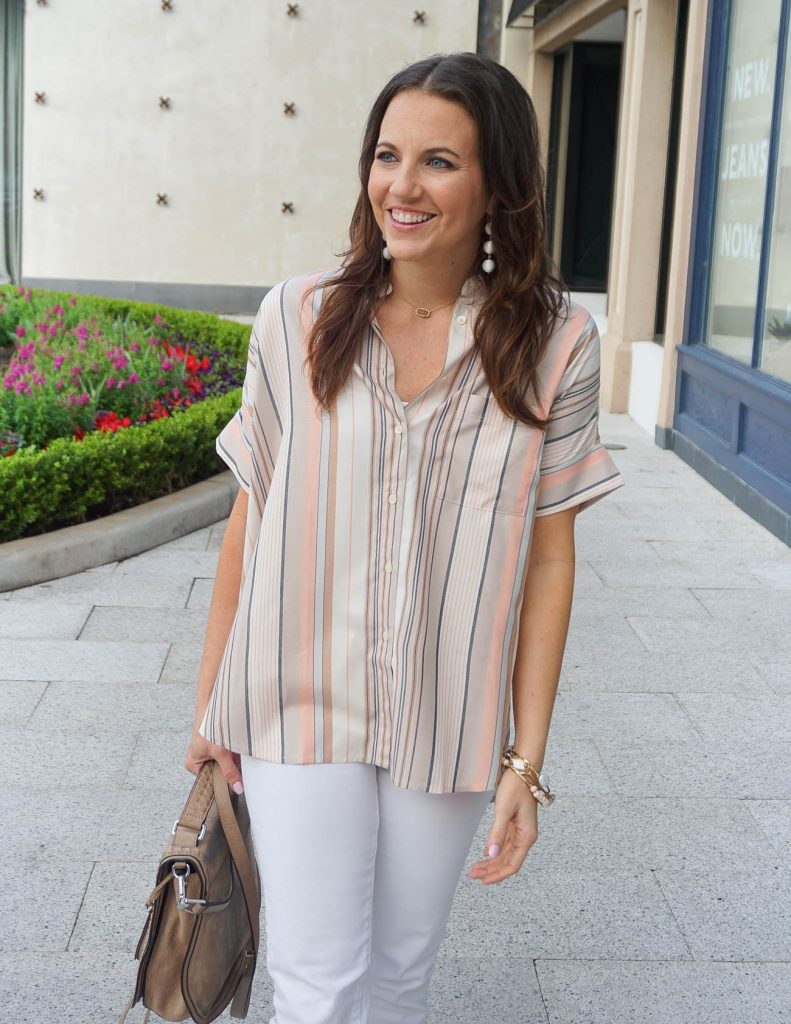 Casual Outfit | Madewell Striped Top | White Skinny Jeans | Houston Fashion Blogger Lady in Violet