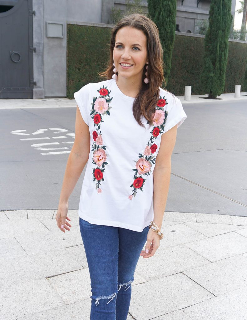 Casual Outfit | White Embroidered Tee | Pink Ball Earrings | Houston Fashion Blogger Lady in Violet