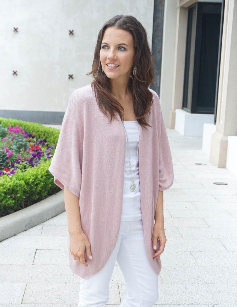 Spring Outfit | Long Pink Cardigan | White Camisole | Houston Fashion Blogger Lady in Violet