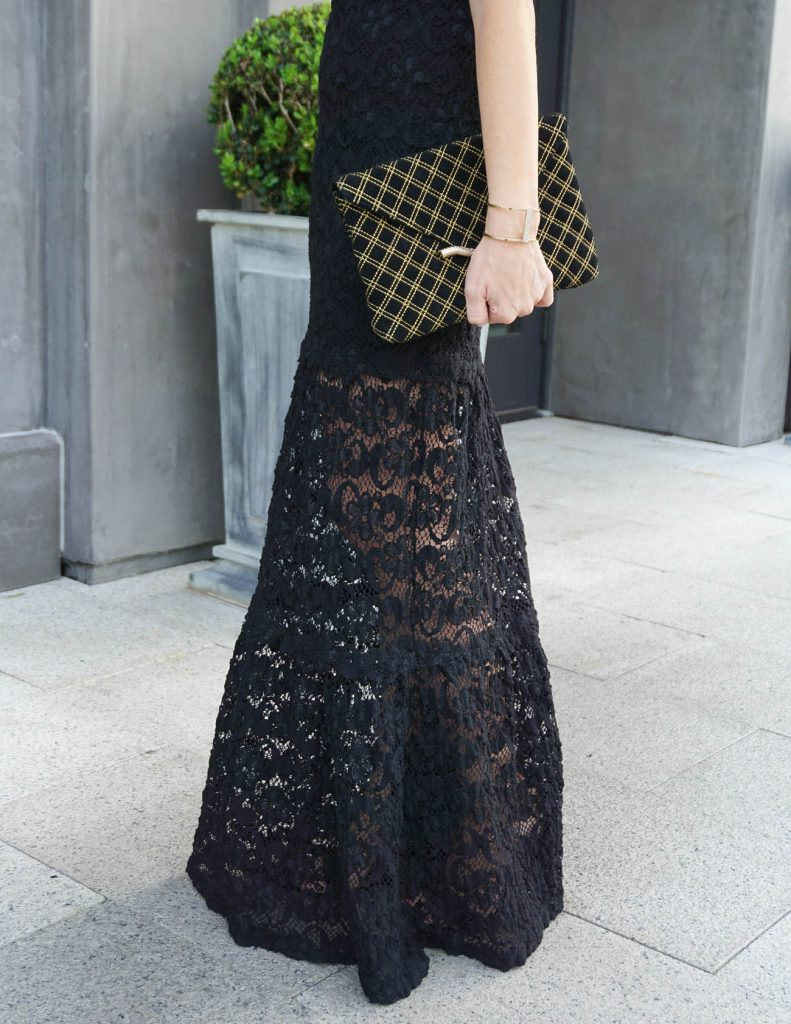 Prom Dress | Black Lace Dress | Elaine Turner Clutch | Houston Fashion Blogger Lady in Violet