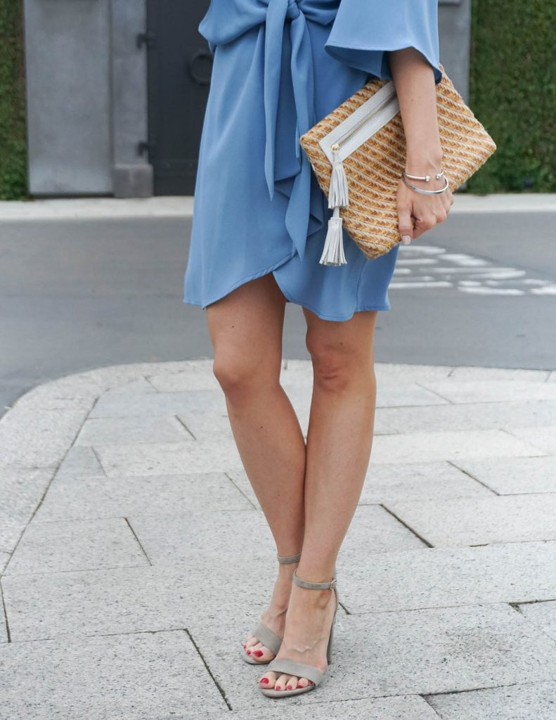 Spring Outfit | Taupe Block Heel Sandals | Straw Clutch | Houston Fashion Blogger Lady in Violet