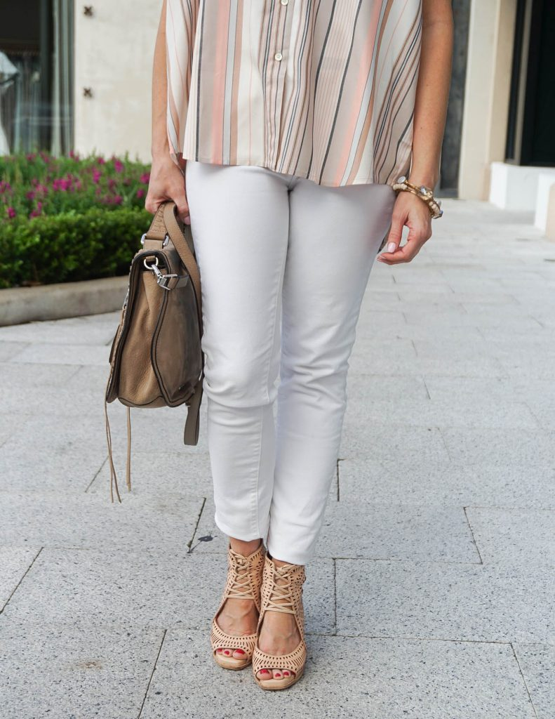 Summer Outfit | White Skinny Jeans | Wedge Sandals | Houston Fashion Blogger Lady in Violet