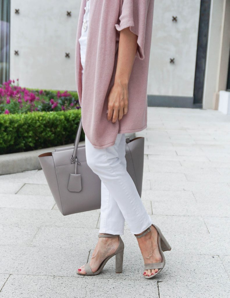 Weekend Outfit | Taupe Block Heel Sandals | Tory Burch Parker Tote | Houston Fashion Blogger Lady in Violet