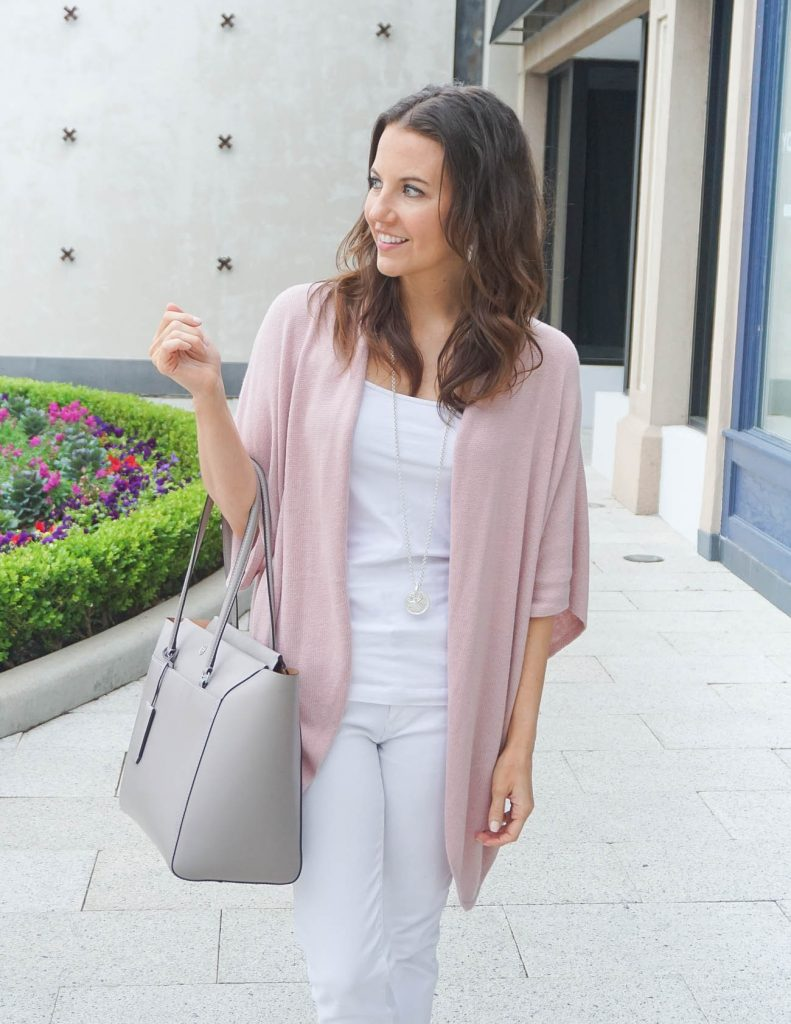 Casual Outfit | Pink Cardigan | White Jeans | Houston Fashion Blogger Lady in Violet