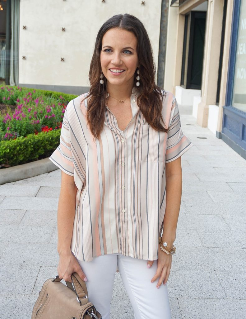 Spring Outfit | Striped Top | Elisa Necklace | Houston Fashion Blogger Lady in Violet