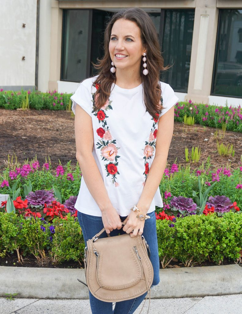 Summer Outfit | Pink Ball Earrings | Rebecca Minkoff Saddle Bag | Houston Fashion Blogger Lady in Violet