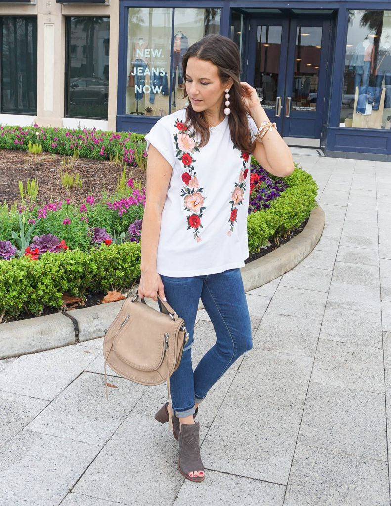 Casual Spring Outfit | Floral Embroidered Tee | Distressed Skinny Jeans | Houston Fashion Blogger Lady in Violet