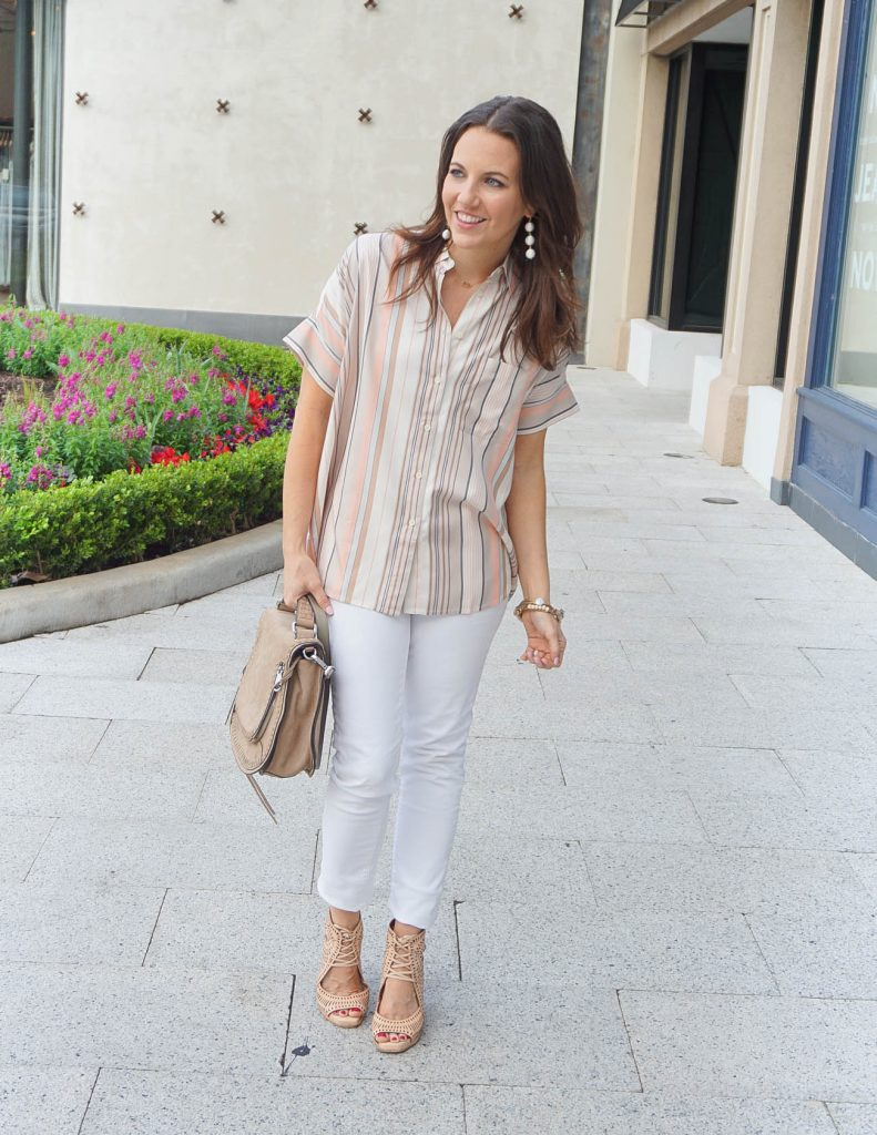 Casual Spring Outfit | Striped Top | White Jeans | Houston Fashion Blogger Lady in Violet