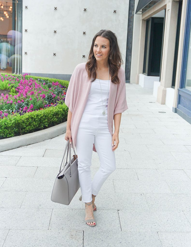 Casual Weekend Outfit | All White Outfit | Pink Cardigan | Houston Fashion Blogger Lady in Violet