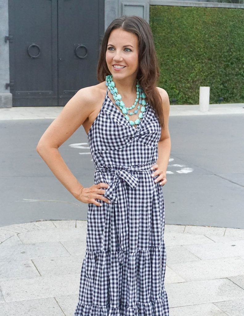 Spring Brunch Outfit | Gingham Halter Dress | Turquoise Necklace | Houston Fashion Blogger Lady in Violet