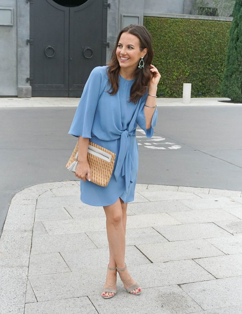 Spring Dresses under $100 | Light Blue Dress | Block Heel Sandals | Houston Fashion Blogger Lady in Violet