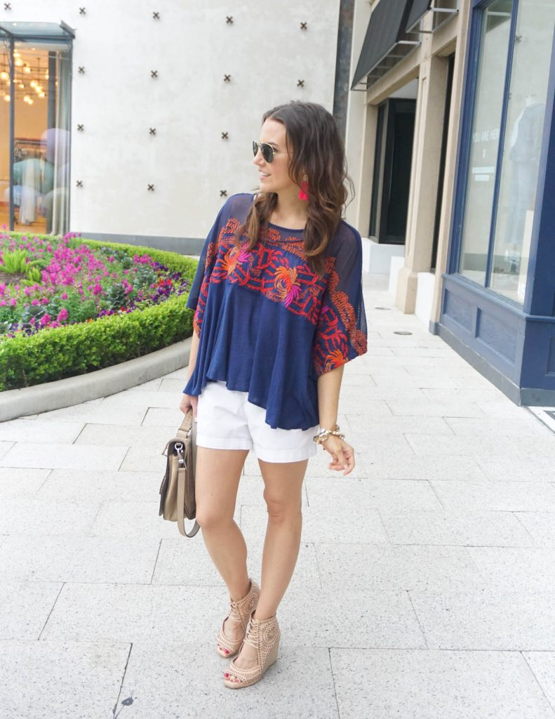 Summer Outfit | White Shorts | Oversized Tee | Houston Fashion Blogger Lady in Violet