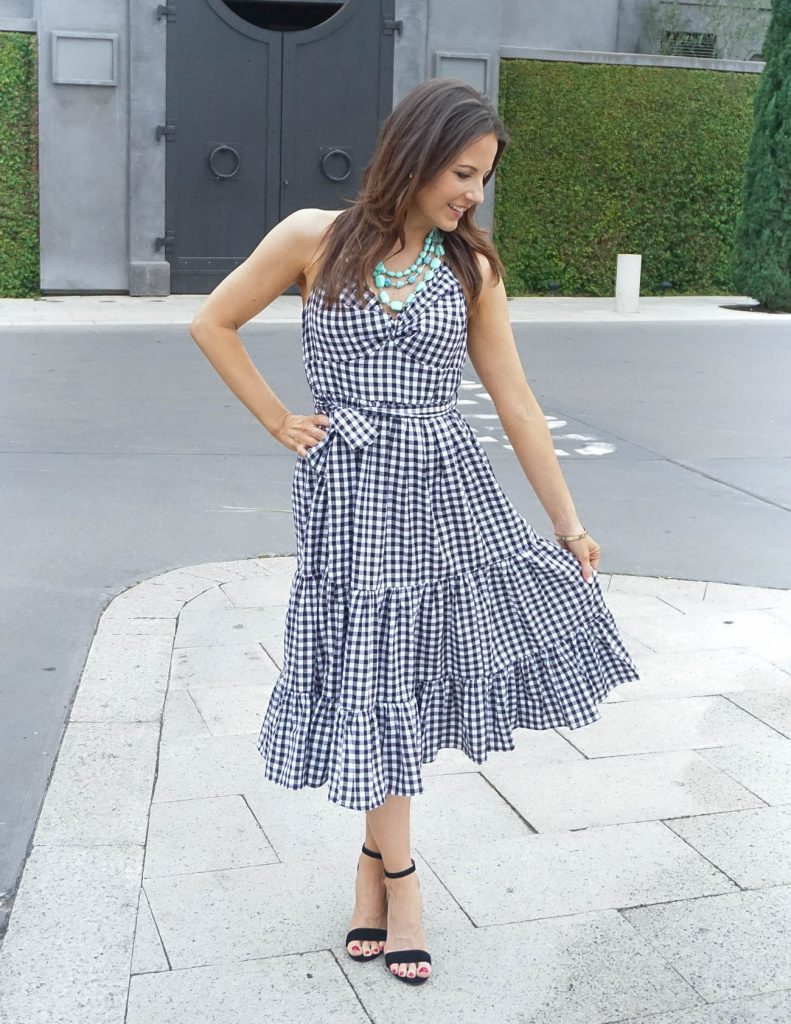 Bridal Shower Outfit | Gingham Ruffle Dress | Statement Necklace | Houston Fashion Blogger Lady in Violet