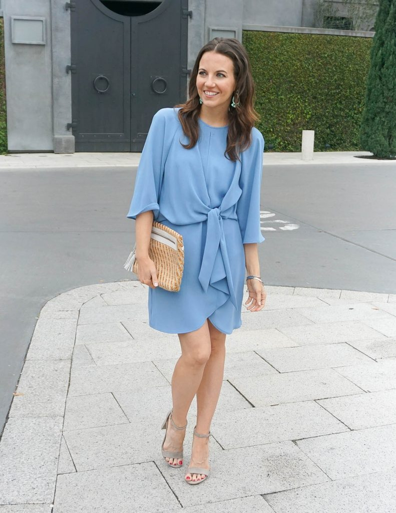 Bridal Shower Outfit | Light Blue Dress | Taupe Block Heel Sandals | Houston Fashion Blogger Lady in Violet