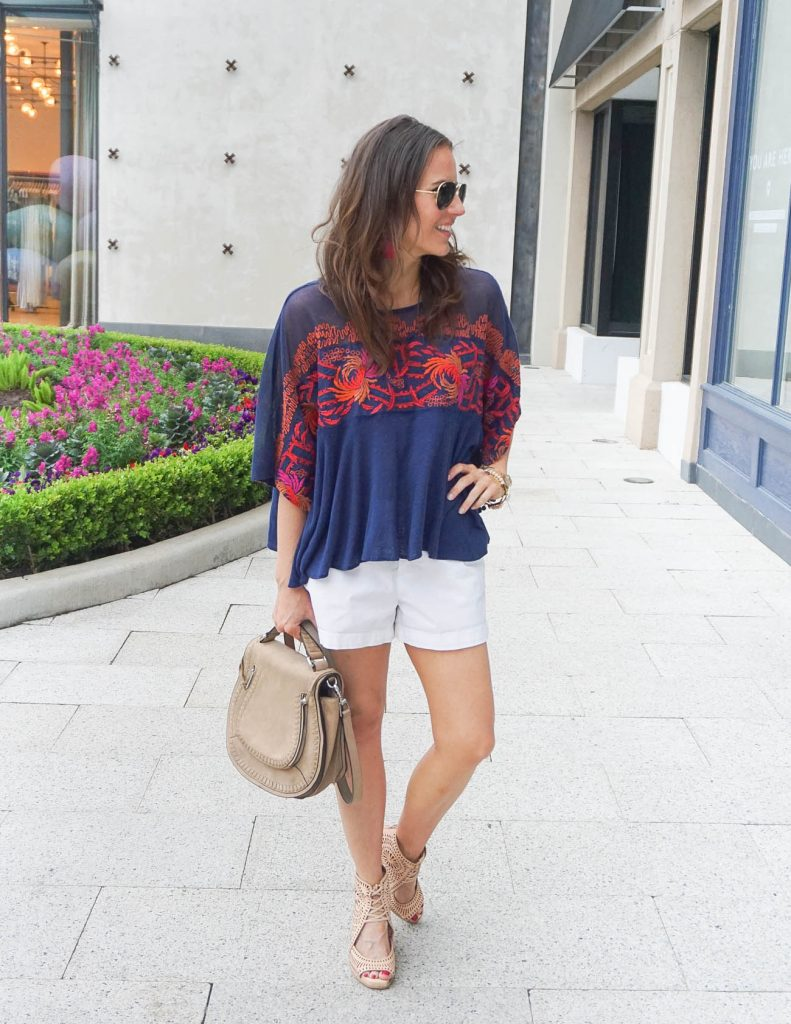 Casual Outfit | Oversized Tee | White Cotton Shorts | Houston Fashion Blogger Lady in Violet