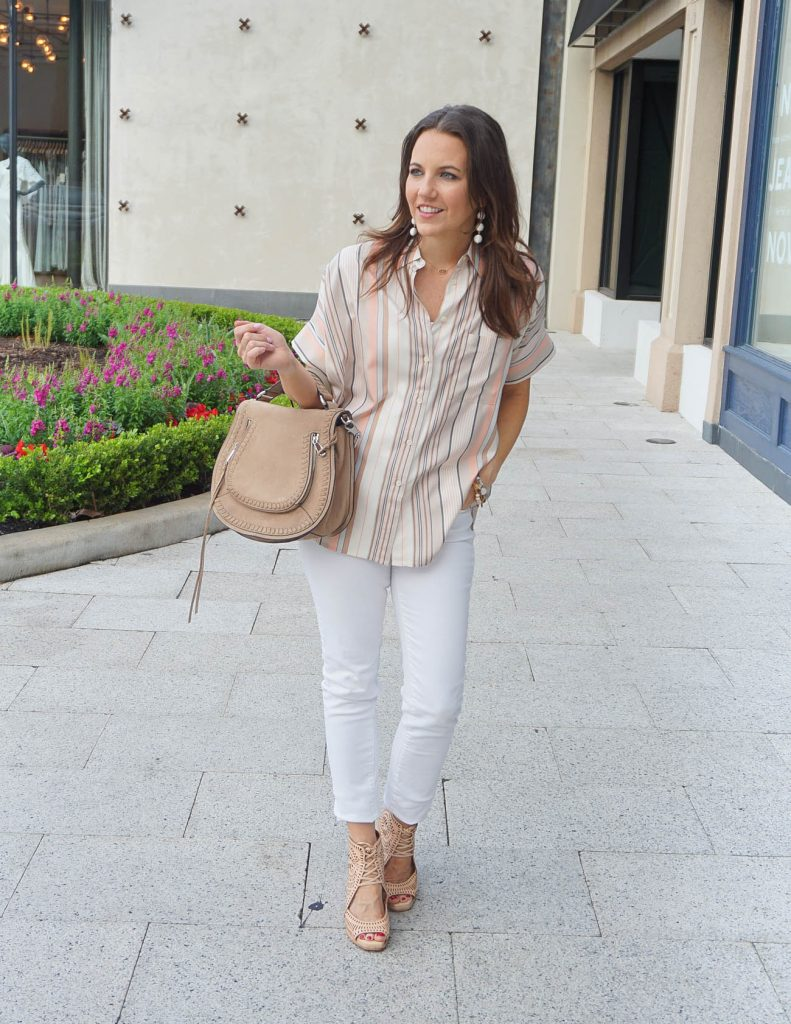 Casual Weekend Outfit | Pastel Striped Blouse | White Skinny Jeans | Houston Fashion Blogger Lady in Violet