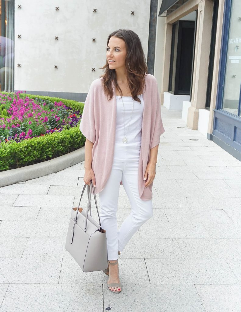 How to Wear All White in Spring | Pink Cardigan | Houston Fashion Blogger Lady in Violet