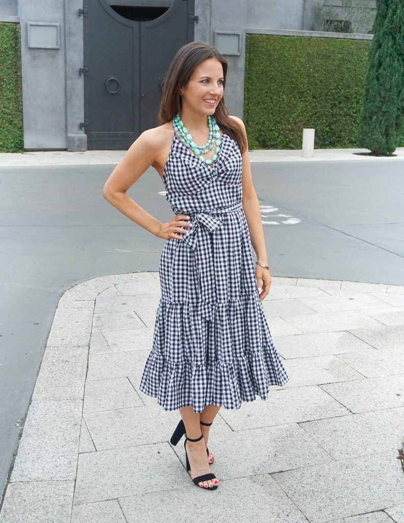 Spring Fashion | Gingham Dress | Black Sandals | Houston Fashion Blogger Lady in Violet