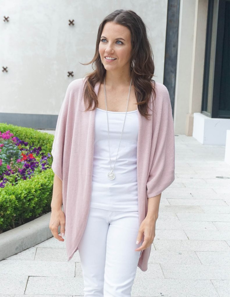 Spring Fashion | Short Sleeve Pink Cardigan | White Camisole | Houston Fashion Blogger Lady in Violet
