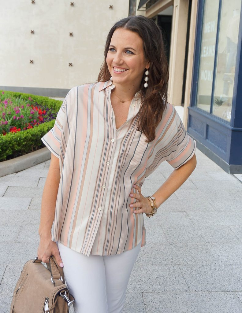 Summer Outfit | Madewell Striped Shirt | White Ball Earrings | Houston Fashion Blogger Lady in Violet