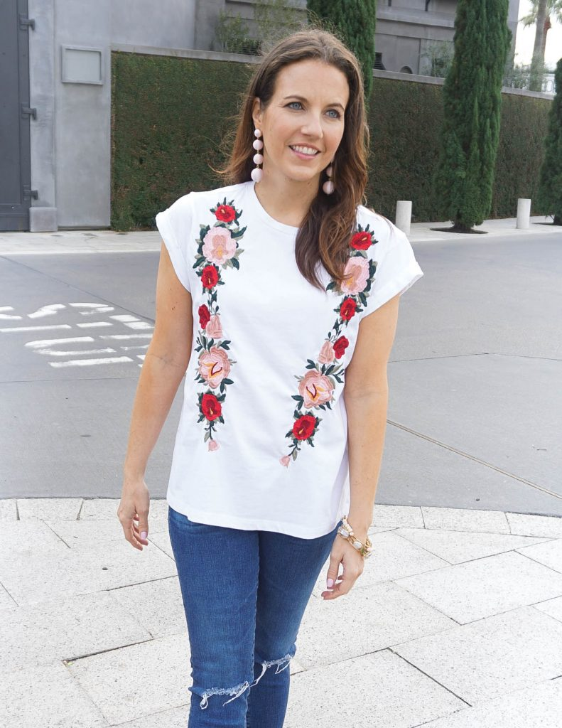 Summer Outfit | White Embroidered Tee | Pink Ball Earrings | Houston Fashion Blogger Lady in Violet