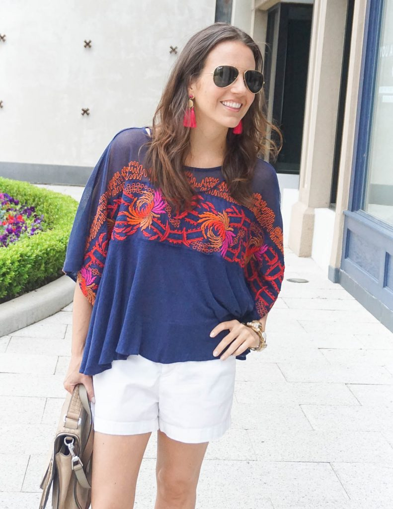 Weekend Outfit | White Cotton Shorts | Free People Tee | Houston Fashion Blogger Lady in Violet