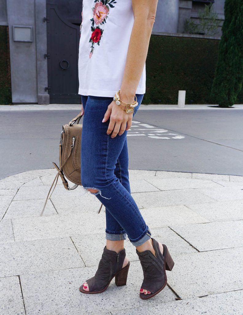 Casual Outfit | Distressed Skinny Jeans | Peep Toe Booties | Houston Fashion Blogger Lady in Violet