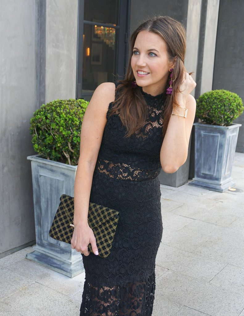 Formal Gala Dress | Black Clutch | Statement Earrings | Houston Fashion Blogger Lady in Violet