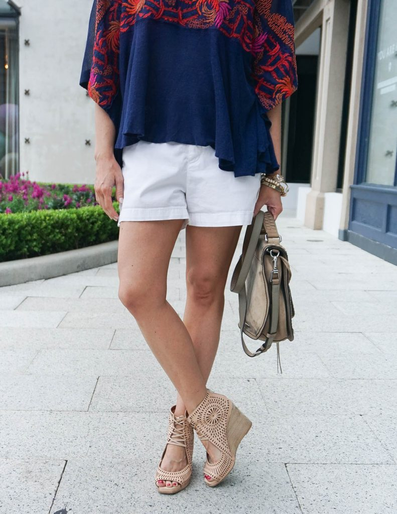 How to Wear White Shorts | Lace Up Wedges | Navy Tee | Houston Fashion Blogger Lady in Violet
