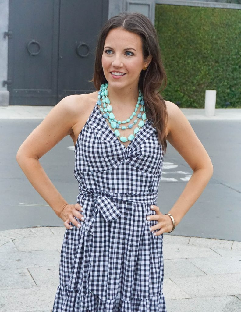 Summer Outfit | Gingham Halter Dress | Teal Necklace | Houston Fashion Blogger Lady in Violet
