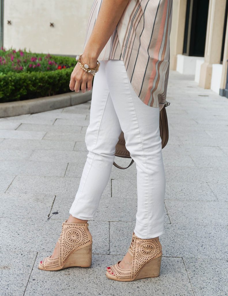 White Jeans Outfit | Jeffrey Campbell Wedges | Spring Fashion | Houston Fashion Blogger Lady in Violet