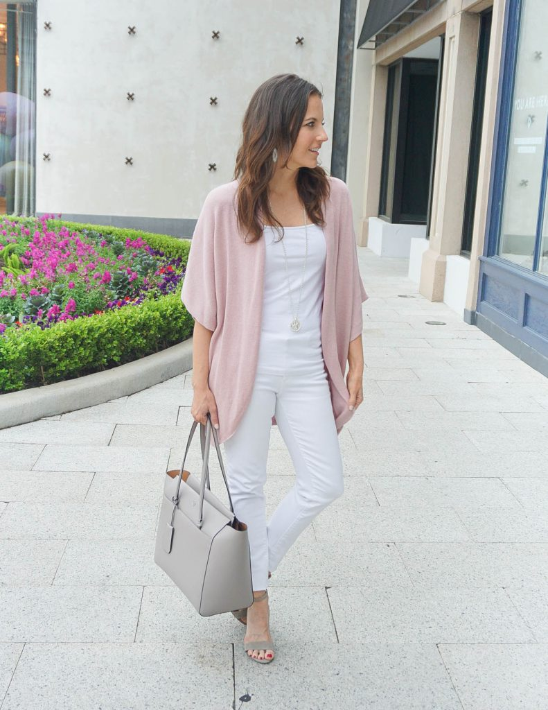 Layered Spring Outfit | Short Sleeve Pink Cardigan | White Skinny Jeans | Houston Fashion Blogger Lady in Violet