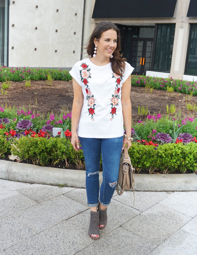 Spring Casual Outfit | Floral Embroidered Tee | Distressed Jeans | Houston Fashion Blogger Lady in Violet