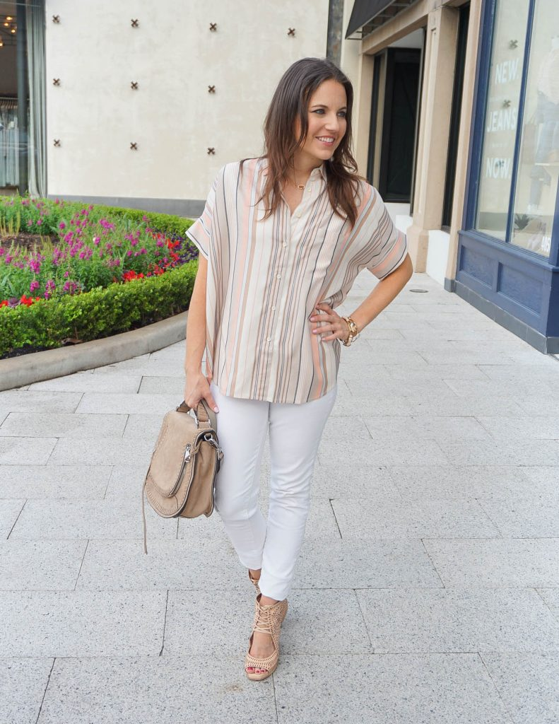 Spring Outfit | Short Sleeved Striped Top | White Skinny Jeans | Houston Fashion Blogger Lady in Violet