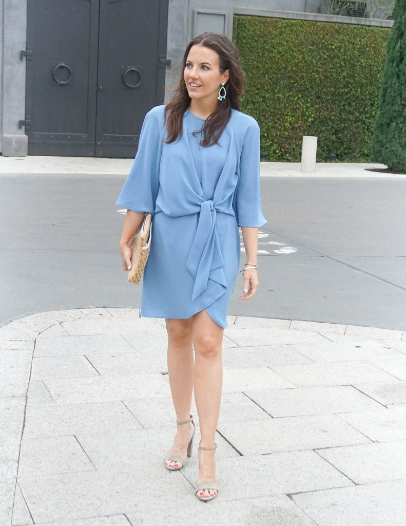 Spring Outfit | Topshop Dress | Taupe Spring Sandals | Houston Fashion Blogger Lady in Violet