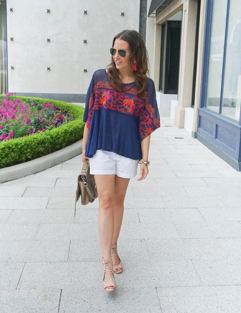 Vacation Outfit | White Shorts under $25 | Rayban Aviators | Houston Fashion Blogger Lady in Violet
