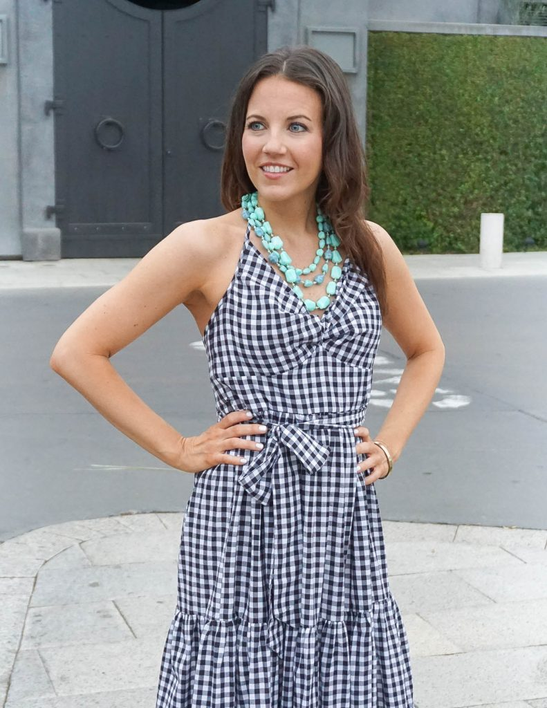 Date Night Outfit | Gingham Dress | Turquoise Necklace | Houston Fashion Blogger Lady in Violet