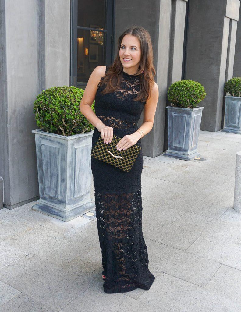 Formal Wedding Attire | Black Lace Dress | Black Clutch | Houston Fashion Blogger Lady in Violet
