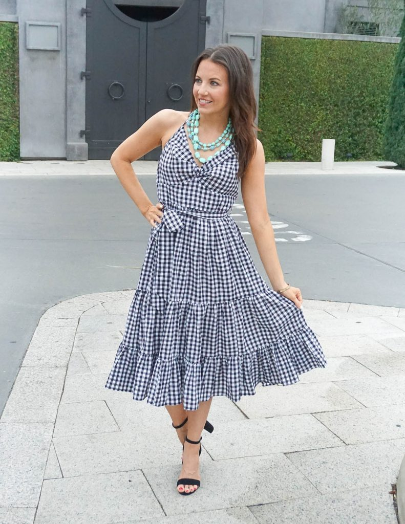 Spring Outfit | Gingham Print Dress | Block Heel Sandals | Houston Fashion Blogger Lady in Violet