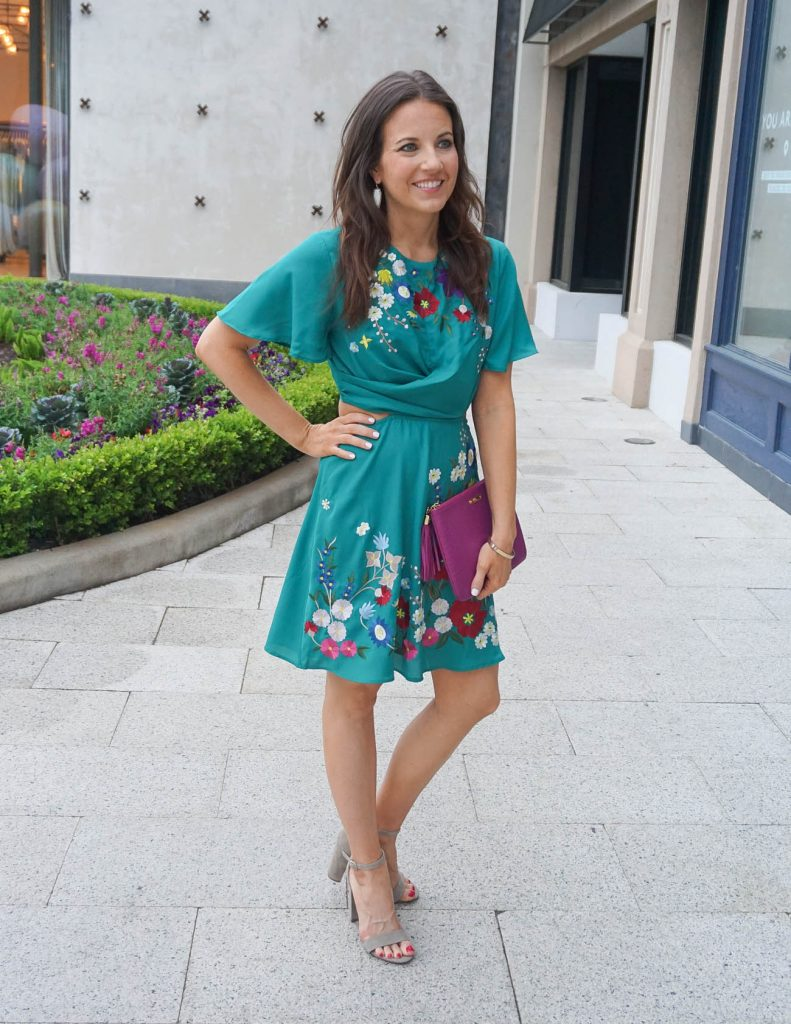 Spring It Dress | Floral Embroidery | Block Heel Sandals | Houston Fashion Blogger Lady in Violet